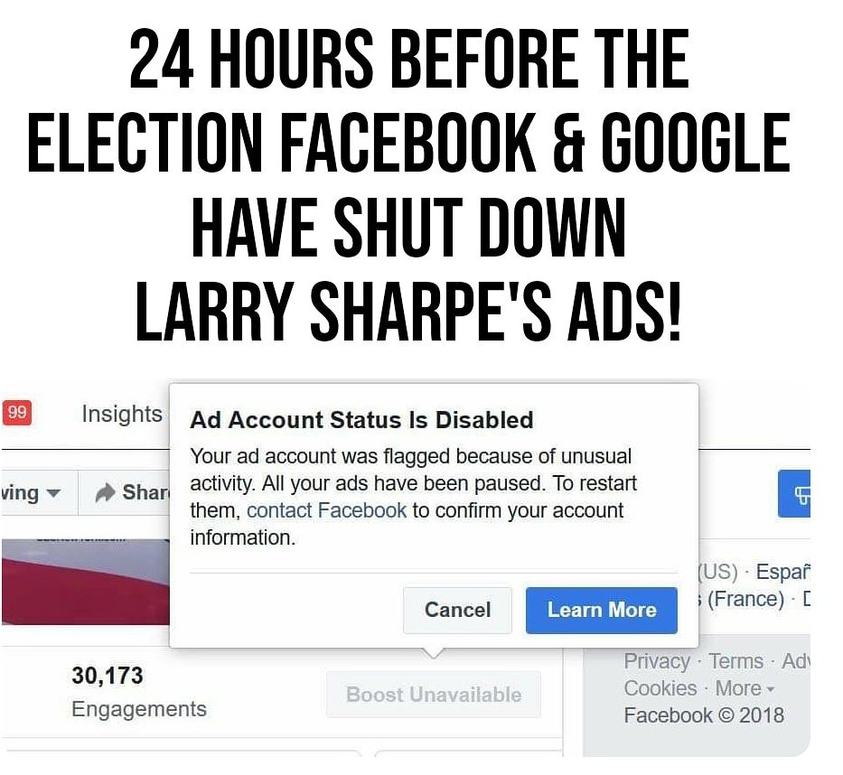Larry Sharpe Being Suppressed on Ballot and on Facebook