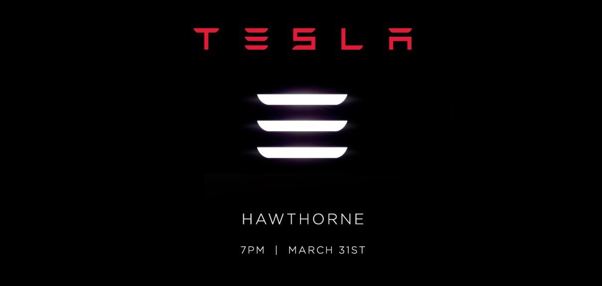 "Tesla sends out official Model 3 unveiling invites with ""3"" stylized as 3 horizontal lines"